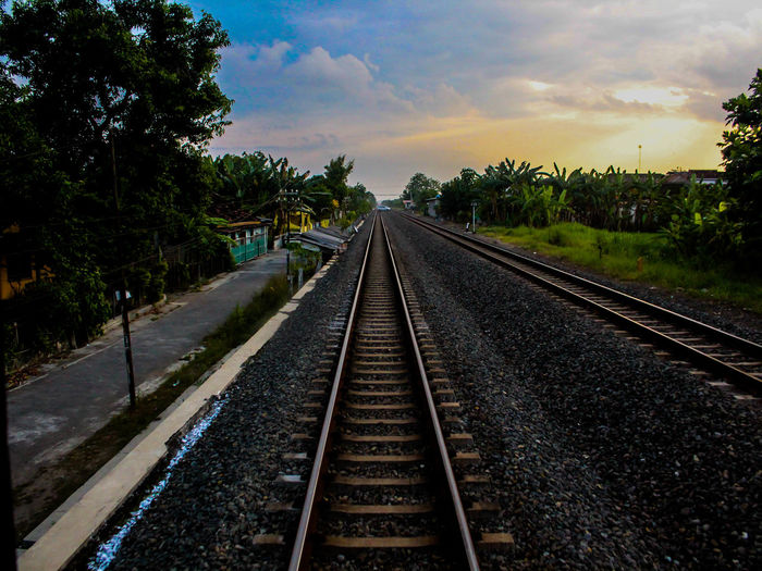 Railway for Train Sky And Clouds Rail Transportation Diminishing Perspective Empty Road Road Marking Country Road White Line Countryside The Way Forward Railroad Station Platform Railway Track Parallel Straight Asphalt Railroad Tie Leading Passageway Passing