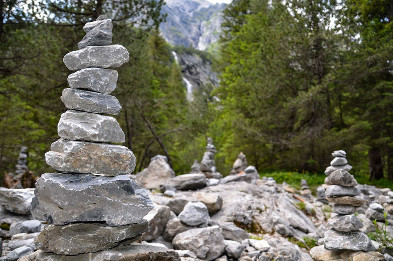 Stack of stones in forest