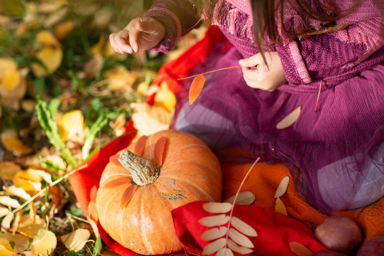 High angle view of woman holding pumpkin in autumn