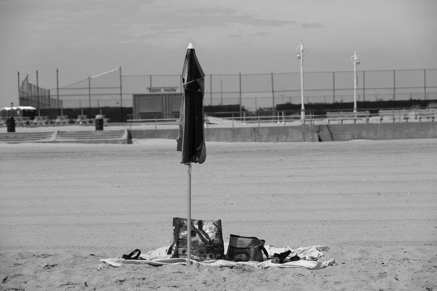 Riis Beach Beach Beach Umbrella Beachphotography Day Empty Places Fujifilm_xseries FujifilmX_US New York City No People Outdoors Photographyisthemuse Sand Sky Summertime Sunny Day Travel Destinations Travel Photography