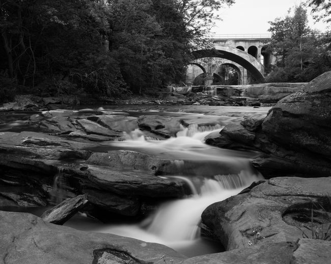 Berea Falls at Twilight. River Water Bridge - Man Made Structure Outdoors No People Motion Blackandwhite Waterfall Park Metroparks Cleveland Ohio Rocky River Reservation BereaOhio Berea Falls