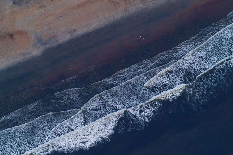 Close-up of snow on water