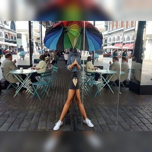 #rainbowllie Casual Clothing City Life Covent Garden  Day Enjoyment Leisure Activity Lifestyles London Multi Colored Outdoors Parasol Relaxation Sky