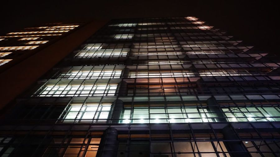 Photography Berlin Photography Berlin Low Angle View Architecture Built Structure Building Exterior Building Window No People City Illuminated Tall - High Glass - Material Night Modern Office Building Exterior Office Sky Glass Nature Skyscraper Outdoors