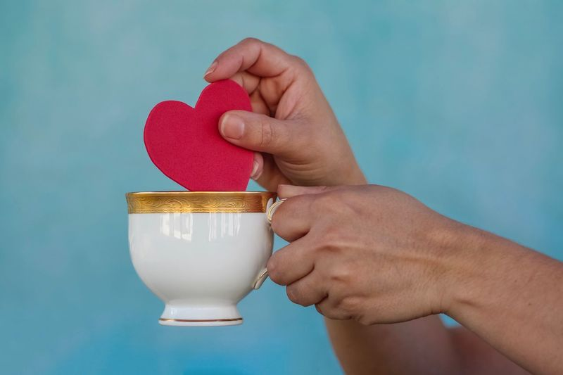 Love Valentine's Day  Heart Shape Human Hand Hand Human Body Part Holding Blue Food And Drink One Person Drink Lifestyles