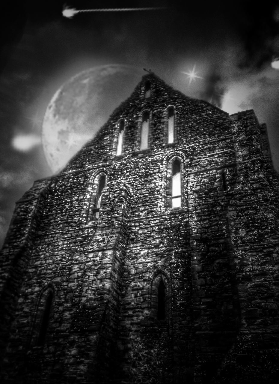 low angle view, built structure, architecture, night, building exterior, religion, no people, outdoors, history, sky, close-up