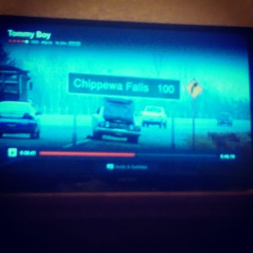 Wicked Crazy Ok! So I watched Titanic earlier, in which Jack Dawson, is from Chippewa Falls. Now I'm watching Tommy Boy, picked completely by random. & I see this!!!!!!!!!!!!!!!!!! ^ Chippewa Falls!!!!!!!!!!!!!!!!! Wow! Titanic Jackdawson chippewafalls tommyboy davidspade chrisfarley