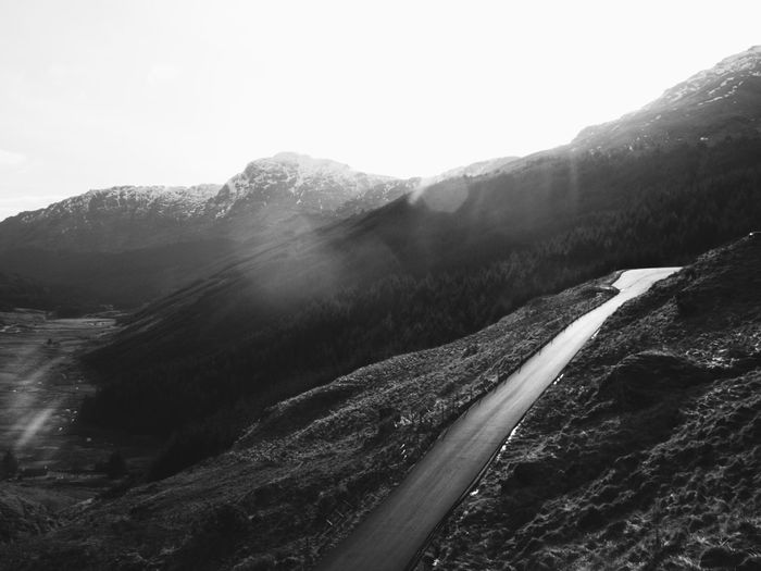 Beauty In Nature Black And White Blackandwhite Day Inspiration Landscape Mountain Nature No People Outdoors Potential  Promise Road Roadtrip Scenics Sky The Road Less Traveled Tranquility Scotland Scottish Highlands The Great Outdoors