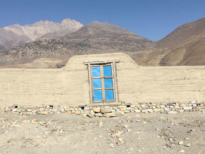 Closed door at fence against annapurna circuit