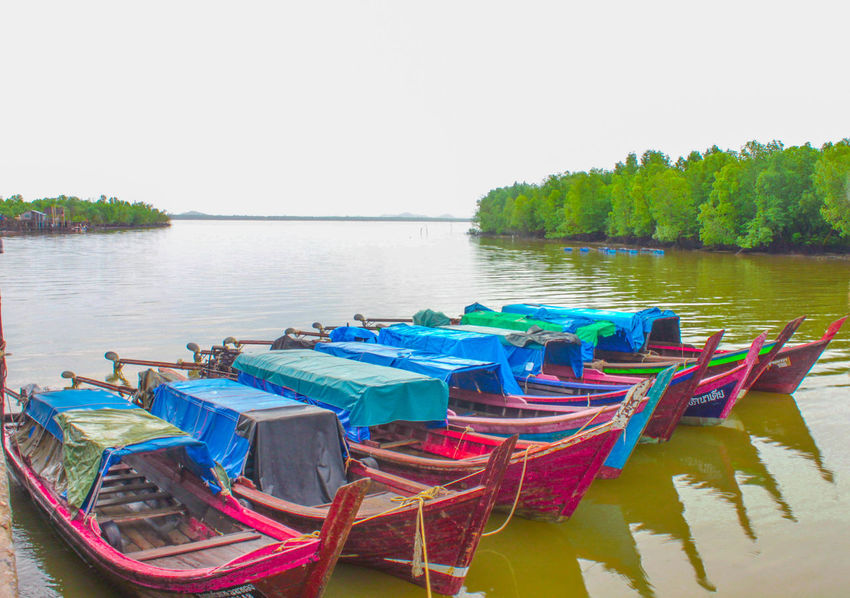 Beauty In Nature Boat Clear Sky Day Green Lake Mode Of Transport Moored Multi Colored Nature Nautical Vessel No People Outdoors Pedal Boat Reflection Scenics Sea And Sky Sky Tranquil Scene Tranquility Transportation Tree Water Waterfront
