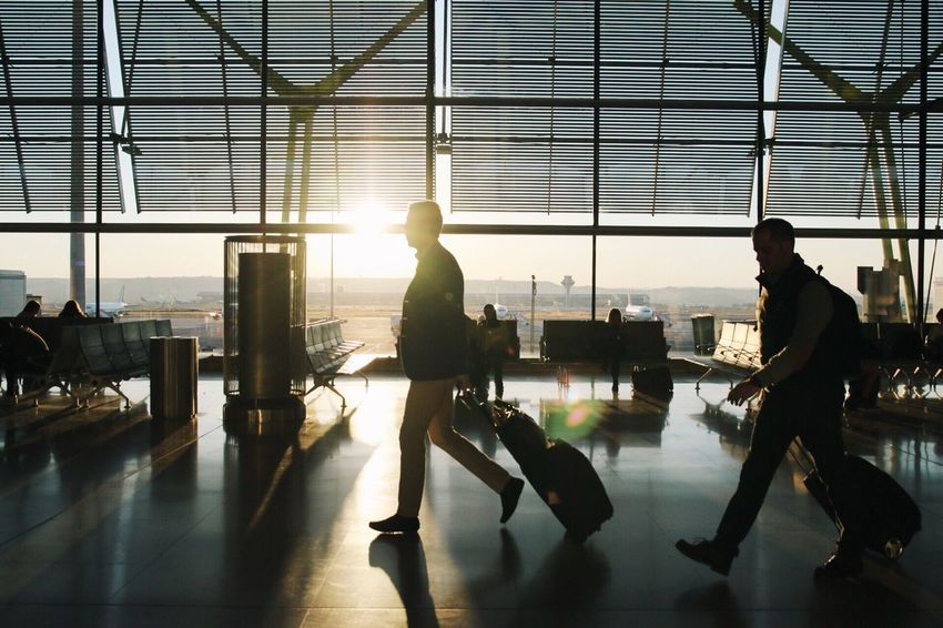 Airport Travel Airport Departure Area Luggage Journey Airport Terminal Businessman Daylight Sunrise Sunrise Silhouette Rush Hour Business Trip Let's Go. Together.