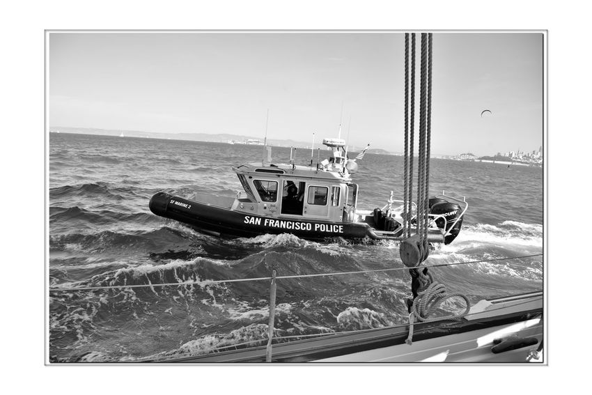 Sailing Aboard The Alma 2 Scow Schooner Built 1891 Wooden-hulled Flat-bottomed 80 Ft. The Alma Sailing San Francisco Bay Patrol Boat San Francisco Poilce Department Rescue Boat Alongside The Alma Choppy Water Kiteboarder Bnw_friday_eyeemchallenge Bnw_water Monochrome_Photography Monochrome Black & White Black & White Photography Black And White Black And White Collection  San Francisco CA🇺🇸 Alcatraz Island Ship Rigging