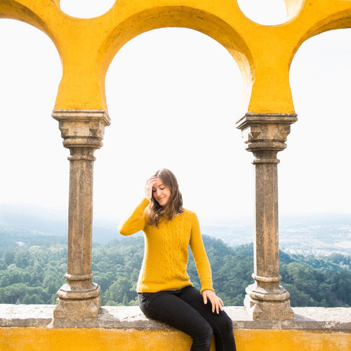Europe Trip Palácio Da Pena Portugal Sintra Travel Arch Architectural Column Architecture History One Person Portrait Women Yellow Young Adult Young Women
