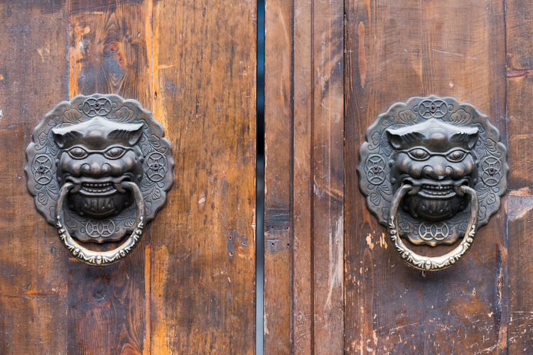 chinese old door Animal Animal Head  Animal Representation Animal Themes Art And Craft Cat Close-up Craft Day Door Door Knocker Entrance Feline Lion - Feline Metal No People Ornate Protection Representation Safety Security Wood - Material
