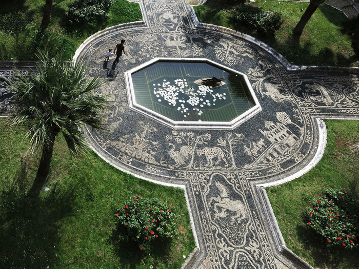 Art Day Fountain Garden Genoa Genova Green Color Hidden Gems  Mosaic Mosaico No People Ornate Outdoors Palm Tree Plant Travel Destinations