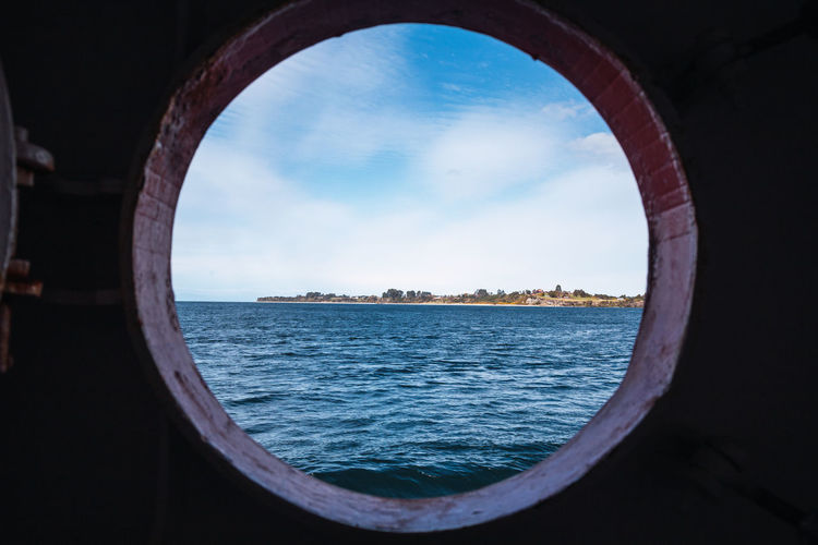 A view of and islan of south america from a boat window