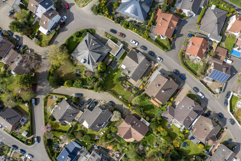 areal view of rural village Nature Day Outdoors High Angle View Structure And Nature Architecture Houses Building Exterior Residential District House Road Suburb Plant Aerial View Tree Roof