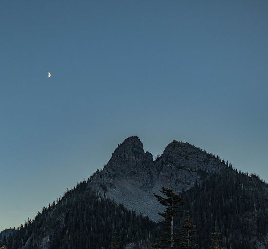 Low angle view of mountain against sky at dusk