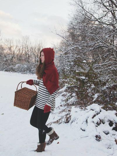 Littleredridinghood Red Snow Woods Onthewaytograndmothershouse Cold Temperature Christmas Outdoors Snowing Landscape Knit Hat Winter Red Warm Clothing Susannasphotographs