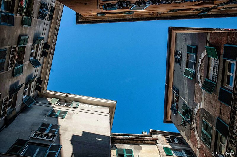 Genova Building Building Exterior Architecture Built Structure Building Sky Clear Sky Blue City Low Angle View Window No People Sunlight Outdoors Tall - High Wall - Building Feature Residential District Day