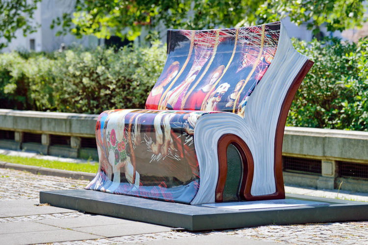 Bookbench Day Outdoors Seat No People Bench Modern Art Installation Street City Warsaw Warszawa  Poland Eastern Europe Europe