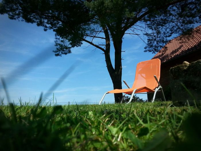 Orange Chair Tree Sport Water Summer Relaxation Sky Grass