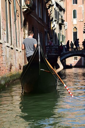 Arch Architecture Canal City Day Gondola Lifestyles Stripes Pattern Town Venice, Italy Water