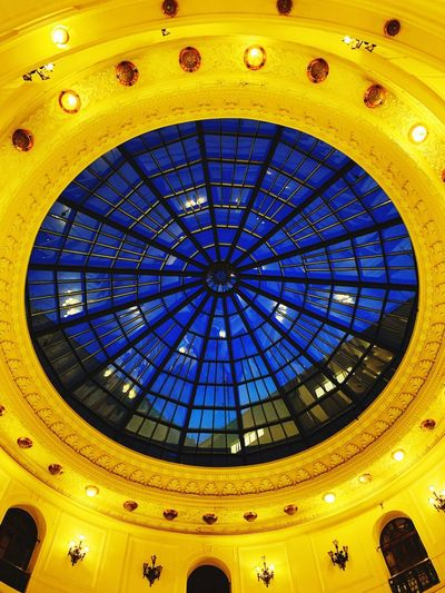 Architecture Ceiling Built Structure Low Angle View Indoors  Illuminated Pattern Dome Glass - Material Geometric Shape Architectural Feature No People Circle Shape Lighting Equipment Design Architecture And Art Ornate Skylight Arch