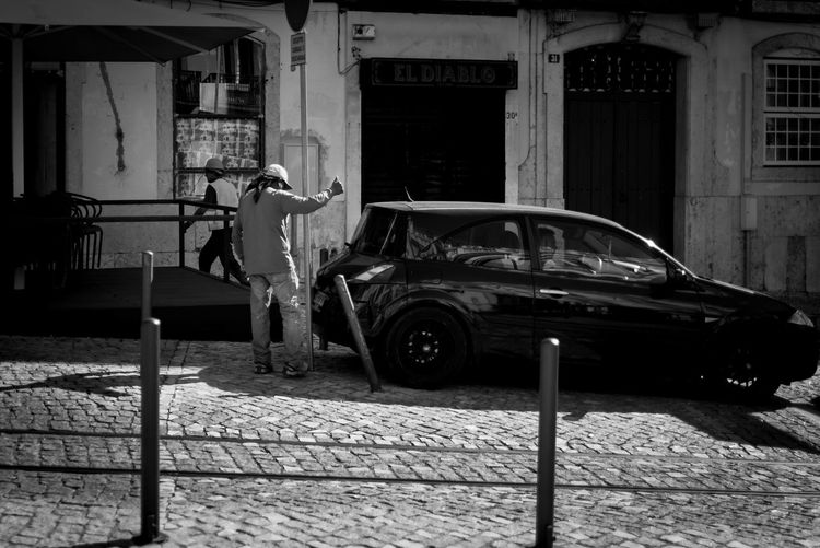 Accident Blackandwhite Car Cars Fail Men Outdoors People Standing Streetphotography Traffic Sign Transportation