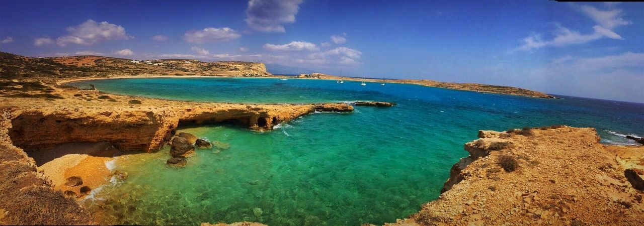 Koufonisia Greece Bay Beach Beauty In Nature Cloud - Sky Coastline Day Horizon Over Water Idyllic Land Nature No People Outdoors Rock Rock - Object Scenics - Nature Sea Sky Tranquil Scene Tranquility Travel Destinations Turquoise Colored Water