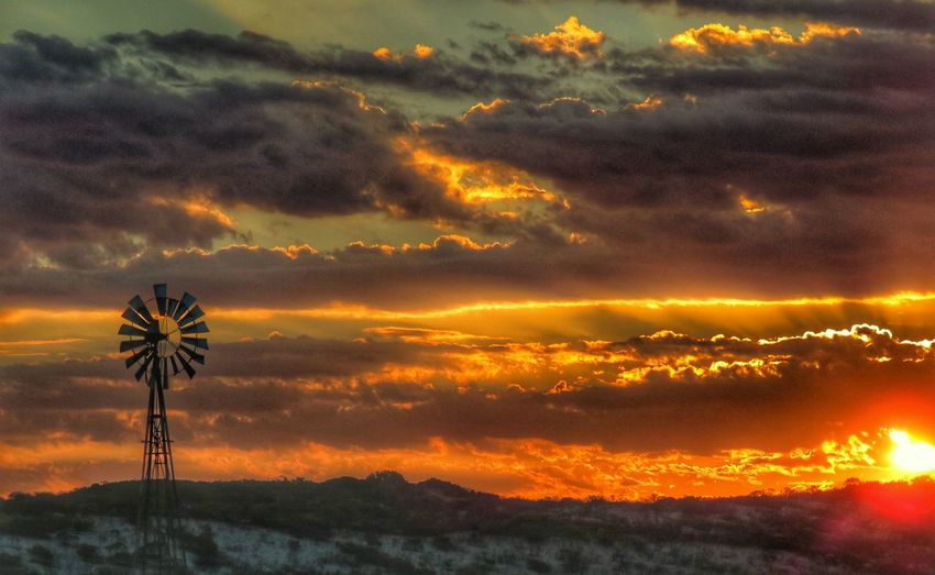 Windmill Wind Pump Clouds And Sky Cloudscape Sunset Multi Colored Illuminated Atmospheric Mood Dramatic Sky Romantic Sky