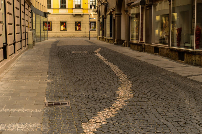 Surface level of narrow walkway along buildings