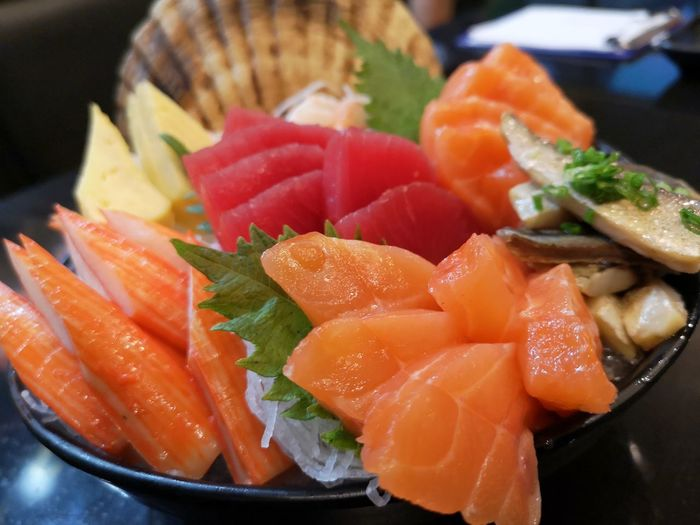 Food Food And Drink Healthy Eating Wellbeing Freshness Close-up Ready-to-eat Indoors  No People Plate Vegetable Seafood Still Life Salmon - Seafood Fish Serving Size Focus On Foreground Table Fruit SLICE Japanese Food Sashimi