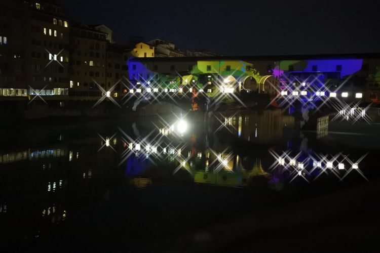 Ponte Vecchio Firenze Florence Christmas Lights Nikon Photography Reflections In The Water Reflection City Lights By Night Florence By Night Colors City Night Lights Vacations Riverside River View Illuminated City Christmas Ornament Christmas Decoration