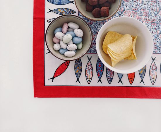 Sweets Candy Chips Colors Colours Colorful High Angle View Bowls Sweet Food Food Snack Food Multi Colored Close-up Food And Drink Served Tablecloth Serving Size Ready-to-eat Plate Temptation