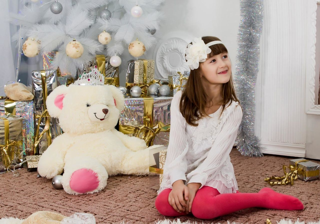 one person, teddy bear, stuffed toy, young adult, indoors, childhood, smiling, day, adult, people