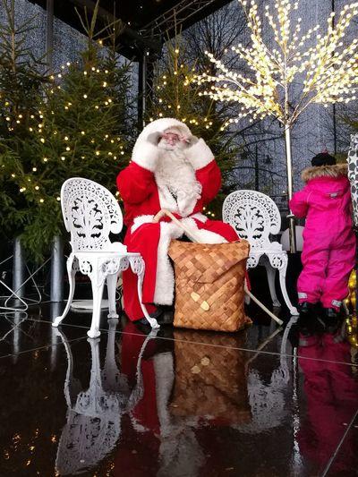 Santa Claus visiting Kuopio Winter Santa Claus Christmas Tree Child Christmas Time Reflection Celebration Seasonal