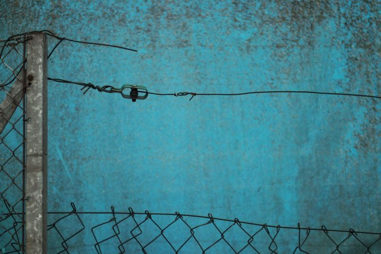 Close-up of barbed wire fence against blue wall