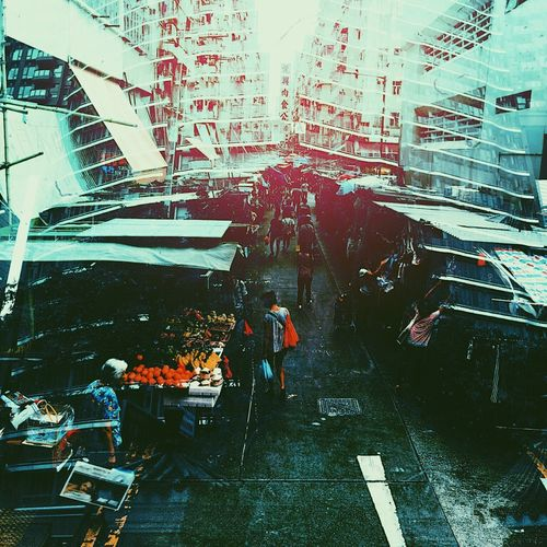 Double Exposure Hong Kong Architecture Building Exterior Built Structure City Day Full Length Large Group Of People Lifestyles Manual Worker Men Occupation Outdoors People Real People Street Streetphotography Water Working