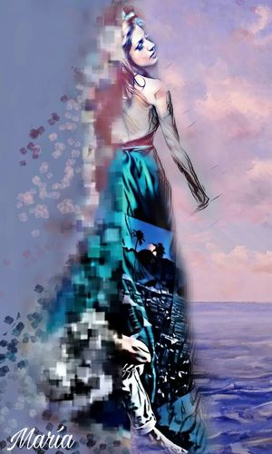 Edited By Me Artwork By Me Surreal Woman Fantasy Multi Colored Sea Sky