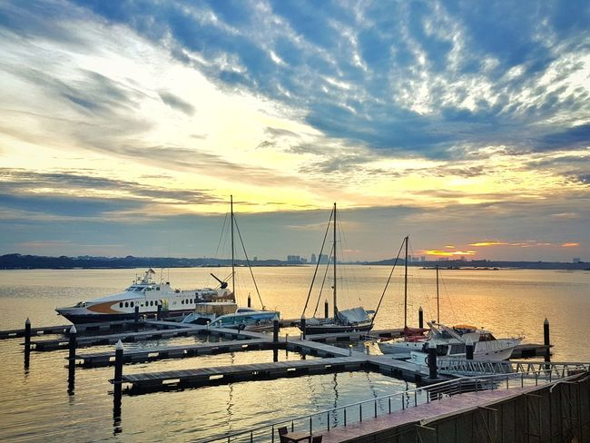 Water Sky Sea Nautical Vessel Transportation Beauty In Nature Cloud - Sky Sunset Outdoors Travel Destinations Scenics Harbor No People 日落 岸边 View Point Yellow Dangabay DangaBayJB Country Garden Adapted To The City Miles Away