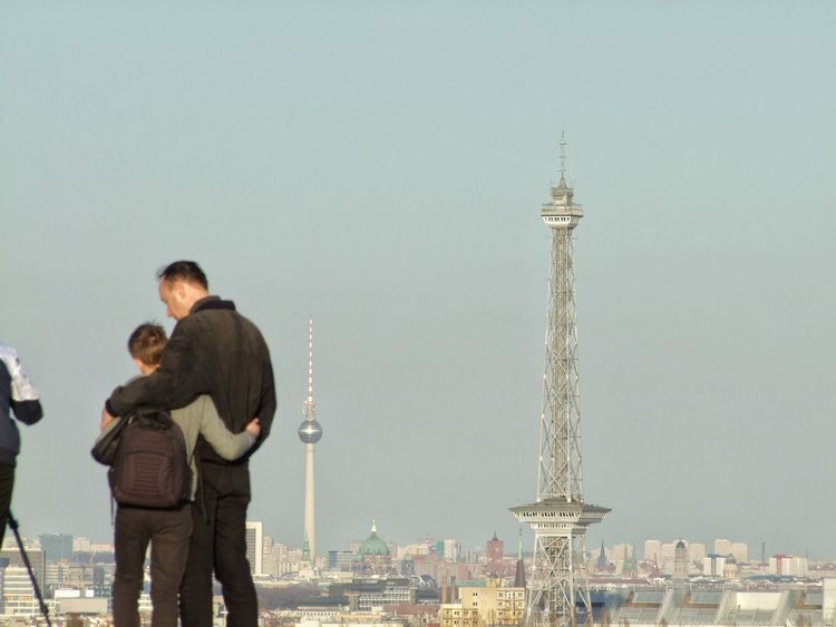 Three Quarter Length Men Togetherness Two People Standing Bonding Twilight Travel Destinations City Leisure Activity Adults Only Adult Outdoors People Friendship Only Men Young Adult Architecture Day Sky Funkturm Fernsehturm Berlin Family
