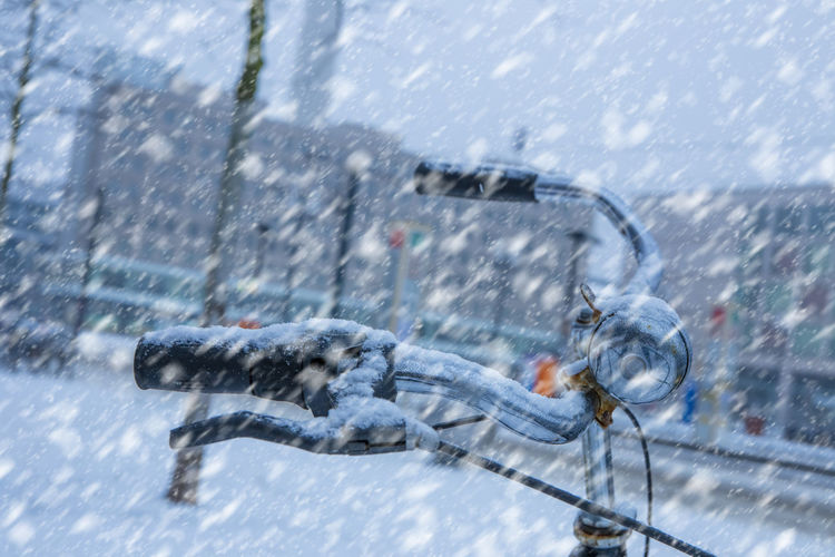 Blurred motion of person on bicycle in winter