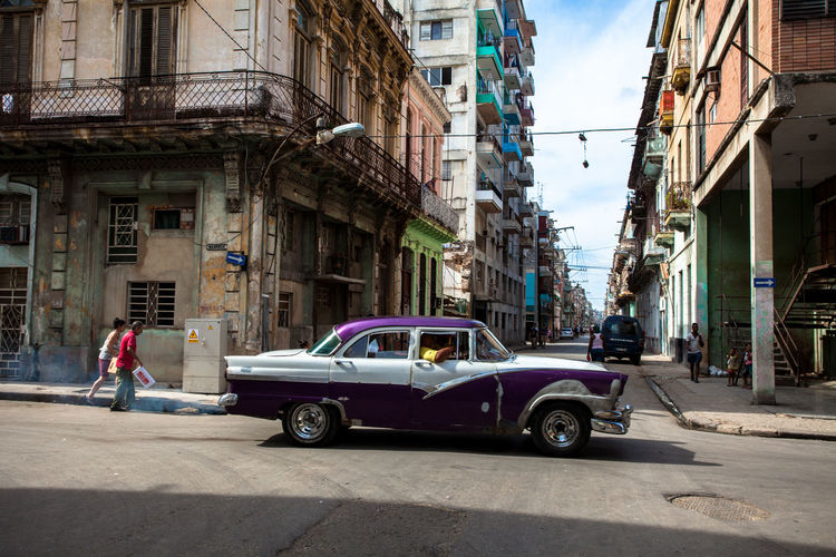 Vintage classic car on a street of Havana, Cuba. American Cars Buildings City Life City Street City Street Cuba Cuban Havana Havana Cuba Mode Of Transport Old Buildings Old Times Residential District Street Vintage Vintage Car Vintage Cars