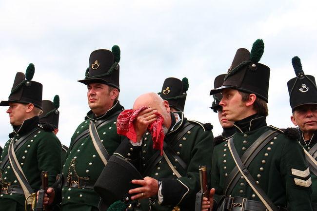 Hot battle of Waterloo soldier Duke of Wellington Napoleonic Uniform Military Uniform re-enactment War Napoleon Bonaparte Hot Day Tired Sweating It Out Soldier Historic Waterloo