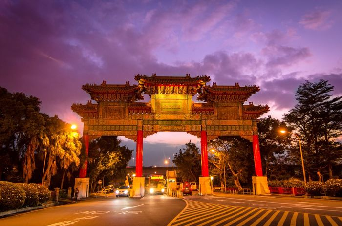 Taipei Violet Sky  Red Gold Tranquil Scene Chinese Gate Architecture Built Structure Illuminated Sky Night Gate Travel Destinations Sunset Arch Building Exterior City