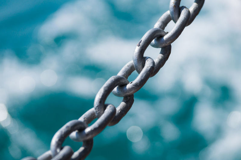 Background Chain Chains Close-up Focus On Foreground Iron - Metal Iron Chain Ocean Ocean View Steel Turquoise Turquoise Water Water