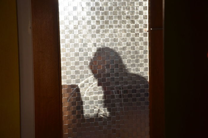 Behind The Door Black Color Curtain Dark Day Domestic Room Lifestyles Profile Schattenspiel  Shadow Shadows Shadows & Lights Unrecognizable Person