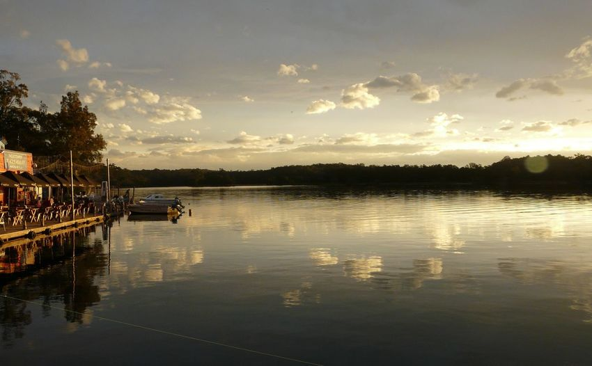 Beauty In Nature Calm Cloud Cloud - Sky Clouds And Sky Cotton Wool Sky  Lake Outdoors Reflection Sunset Tranquil Scene Tuross Boatshed Tuross Lake Water
