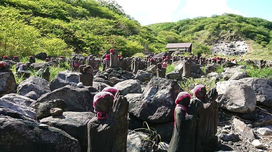 Praying jizos Jizo Jizou Zizou Praying Pray Stone Statues Religion Japan Nature Mountain Travel Tree Close-up Sky